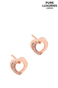 Pure Luxuries London Viviane Rose Gold Plated Silver Heart Earrings