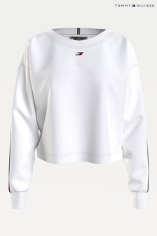 Tommy Hilfiger White Relaxed Tape Sweatshirt