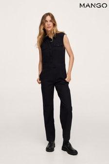 Mango Black Long Chest-Pocket Jumpsuit