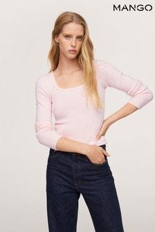 Mango Womens Pink Textured Knit Sweater