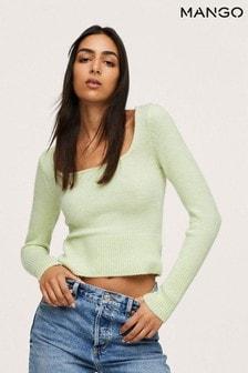 Mango Green Textured Knit Sweater