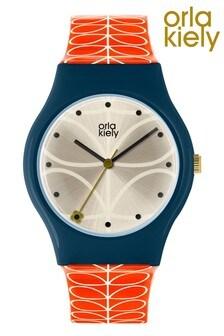 Orla Kiely Bobby Red Strap Stem Print Watch