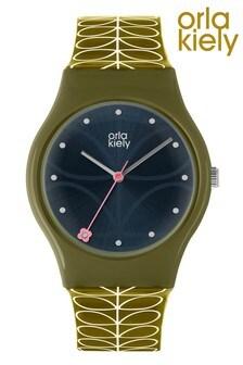 Orla Kiely Bobby Green Strap Stem Print Watch