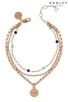 Radley Rose Gold Triple Chain Bracelet with Coloured Beads