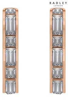 Radley 18ct Rose Gold Heart Huggie Earrings with Baguette Stones
