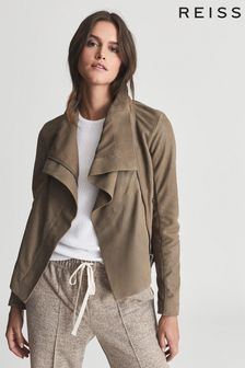 Reiss Rae Suede Leather Funnel Neck Jacket