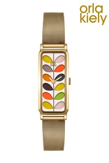 Orla Kiely Stem Pale Gold Stainless Steel Mesh Multicoloured Dial Watch
