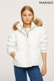Mango White Detachable Faux-Fur Hood Anorak