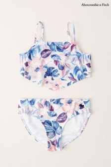 Abercrombie & Fitch Older Girls White Printed Two Piece Swimsuit