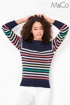 M&Co Petite Blue Striped Jumper