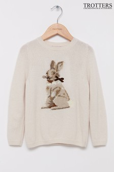 Trotters London White Bunny Jumper