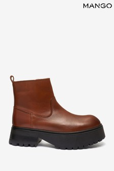 Mango Brown Ankle Boots