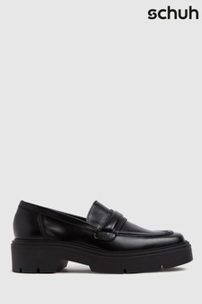 Schuh Black Lennox Chunk Leather Loafers