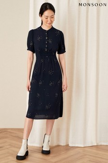 Monsoon Blue Embroidered Crinkle Midi Dress