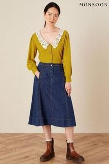 Monsoon Blue A-Line Denim Skirt