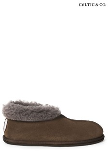 Celtic & Co Brown Mens Brown Sheepskin Bootee Slippers