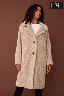 F&F Natural Long Teddy Coat