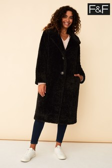 F&F Black Long Teddy Coat