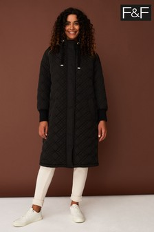 F&F Black Quilted Hooded Coat