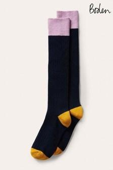 Boden Navy Long Chunky Socks