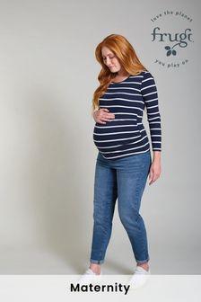 Frugi Maternity Organic Navy Stripe Long Sleeve Top