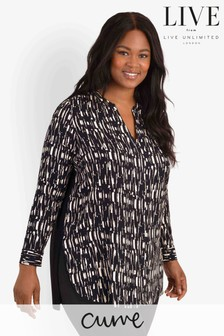 LIVE Curve Black Sustainable Print Jersey Back Shirt