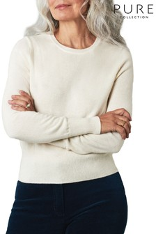 Pure Collection White Cashmere Cropped Sweater