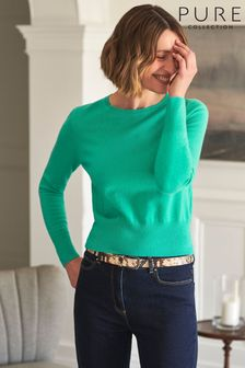 Pure Collection Green Cashmere Cropped Sweater