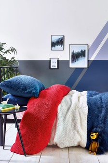 Colourblock Fleece Duvet Cover And Pillowcase Set