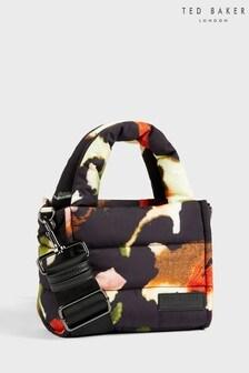 Ted Baker Black Gianina Forager Watercolour Nylon Puffer Mini Tote Bag