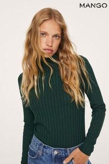 Mango Womens Green Ribbed Long-Sleeved T-Shirt