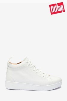 FitFlop White Rally Leather High-Top Trainers