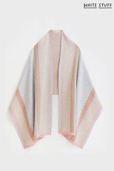 White Stuff Natural Knitted Stripe Wrap Poncho