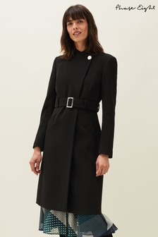 Phase Eight Black Susie Stand Up Collar Coat