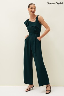 Phase Eight Green Zelda Asymmetric Belted Jumpsuit