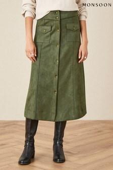 Monsoon Green Button-Through Suedette Skirt
