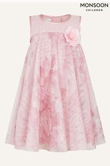 Monsoon Pink Baby Lara Rose Print Flare Dress