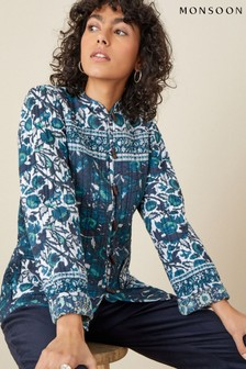 Monsoon Teal Woodblock Print Jacket