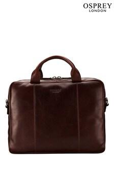 OSPREY LONDON Chocolate Brown Saddle Leather Faringdon Laptop Bag