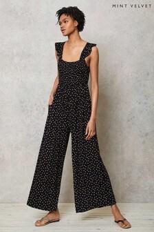 Mint Velvet Black Spot Jersey Jumpsuit