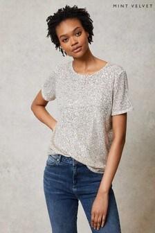 Mint Velvet Silver Sequin T-Shirt