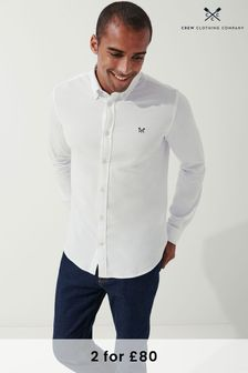 Crew Clothing Company White Long Sleeve Pique Shirt