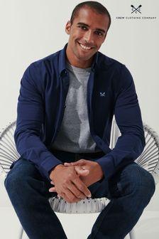 Crew Clothing Company Blue Long Sleeve Pique Shirt