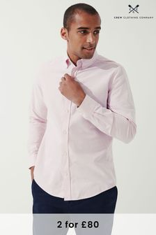 Crew Clothing Company Pink Long Sleeve Slim Oxford Stripe Shirt