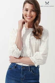 Crew Clothing Company White Broderie Top