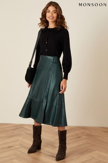 Monsoon Green Belted Leather-Look Skirt