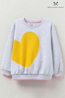 Crew Clothing Company Grey Oversized Heart Print Sweatshirt
