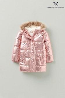 Crew Clothing Company Pink Metallic Padded Jacket With Trim Hood