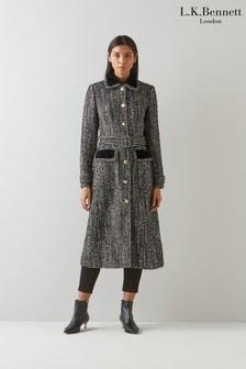 L.K.Bennett Black Osborne Belted Coat With Velvet Trim