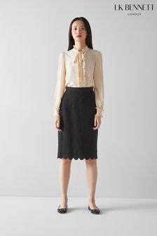 L.K.Bennett Black Venice Scallop Pencil Skirt